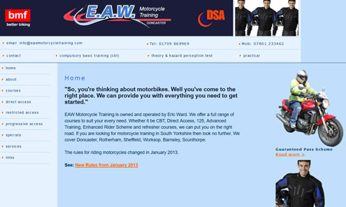 EAN Motorcycle Training website